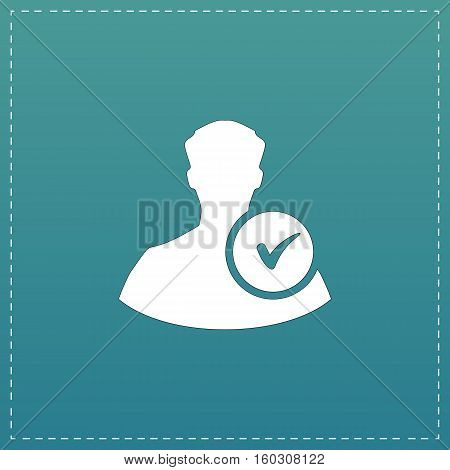 User profile web with check mark glyph. White flat icon with black stroke on blue background