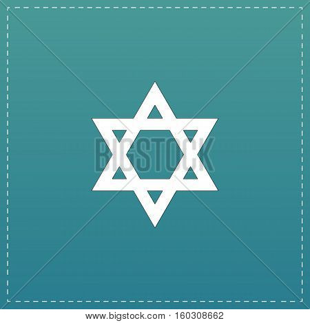 Star of David. White flat icon with black stroke on blue background