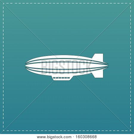 Airship. White flat icon with black stroke on blue background
