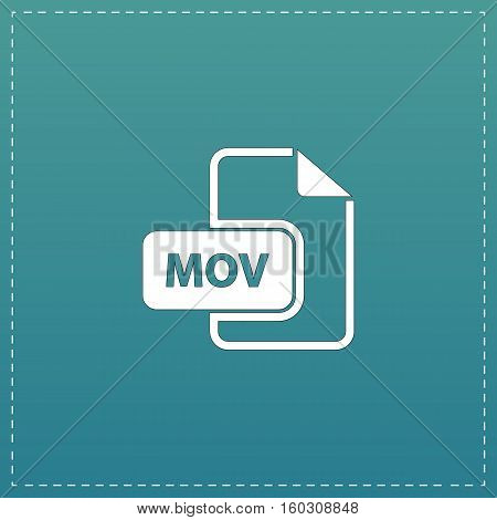 MOV video file extension. White flat icon with black stroke on blue background