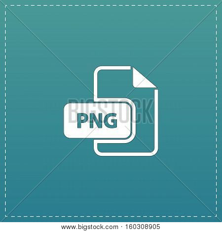 PNG image file extension. White flat icon with black stroke on blue background