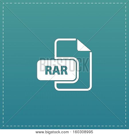 RAR file format. White flat icon with black stroke on blue background