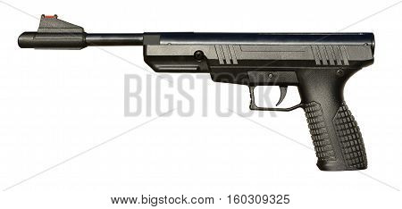 Black airgun pistol isolated on white background.