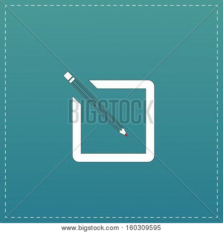Simple registration. White flat icon with black stroke on blue background