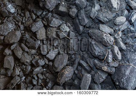 Black Coal Lying On A Pile In House Basement