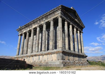 Ancient Garni Pagan Temple the hellenistic temple in Republic of Armenia. The Garni Temple is the fine example of the ancient Greek and Roman architecture.