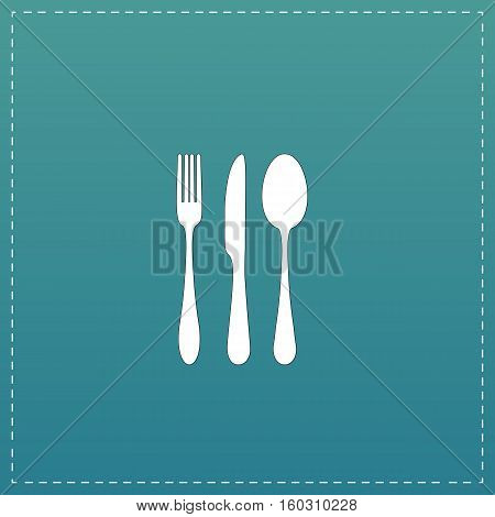 Knife, fork and spoon. White flat icon with black stroke on blue background