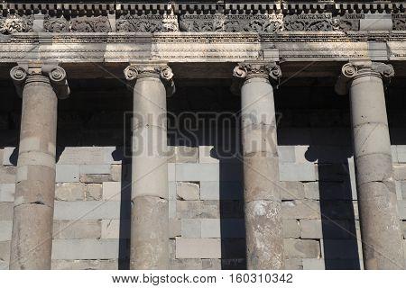 Detail of Ancient Roman Columns in Hellenistic temple of Garni, Armenia