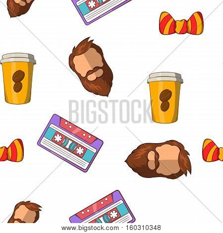 Hipster pattern. Cartoon illustration of hipster vector pattern for web