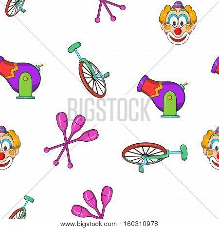 Circus performance pattern. Cartoon illustration of circus performance vector pattern for web
