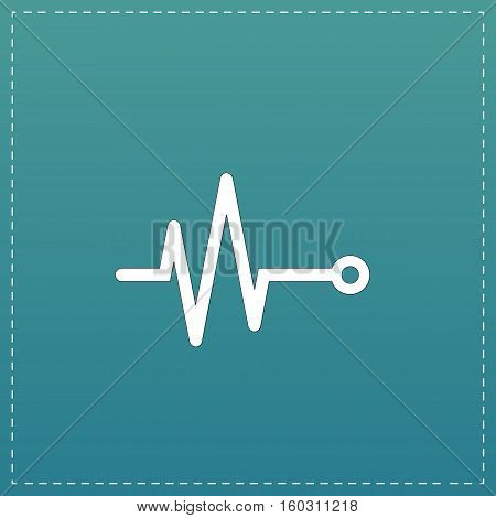 Life line - Heart beat, cardiogram. White flat icon with black stroke on blue background