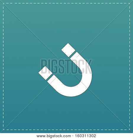 Magnet. White flat icon with black stroke on blue background