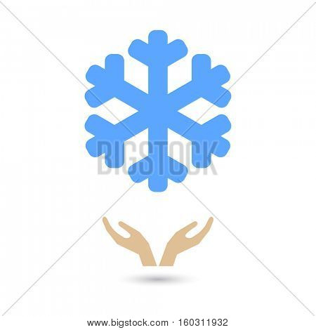hands support blue  snowflake icon - christmas concept