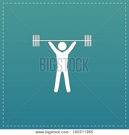 Weightlifting. White flat icon with black stroke on blue background