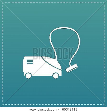 Vacuum cleaner. White flat icon with black stroke on blue background
