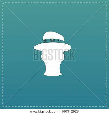 Man head with hat. White flat icon with black stroke on blue background