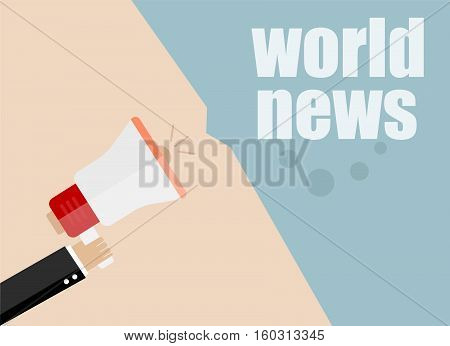 Flat Design Business Concept. Worls News. Digital Marketing Business Man Holding Megaphone For Websi