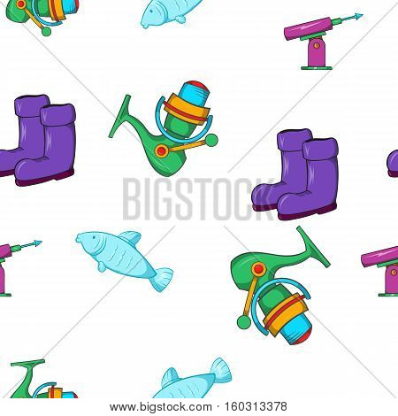 Fishing sport pattern. Cartoon illustration of fishing sport vector pattern for web