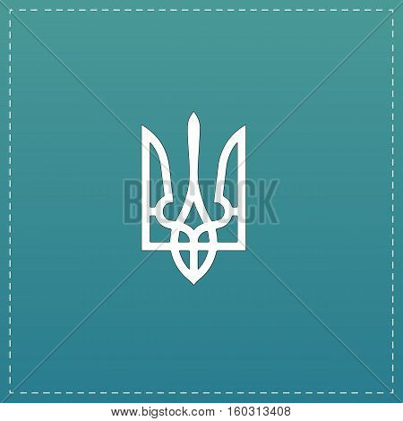 Trident. White flat icon with black stroke on blue background