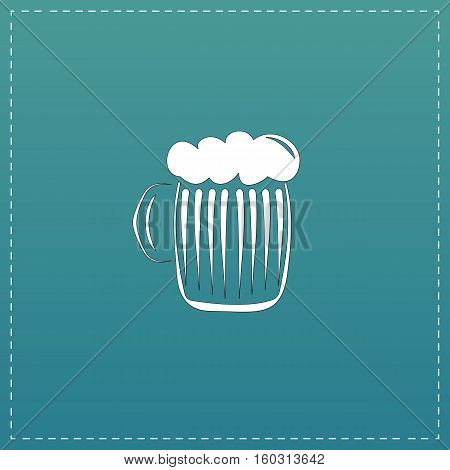 Glass of beer with foam. White flat icon with black stroke on blue background