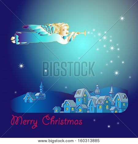 Merry Christmas greeting card of  flying angel with trumpet. Christmas houses at the night. Winter village panorama xmas vector poster.