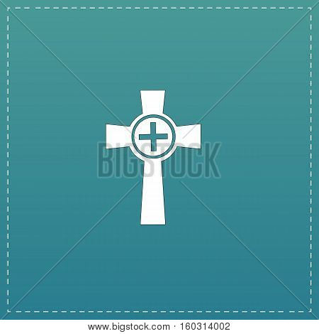 Tombstone - cross gravestone. White flat icon with black stroke on blue background