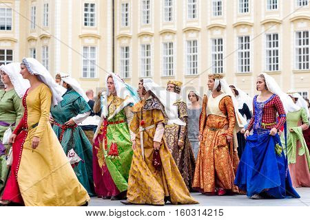 RAGUE CZECH REPUBLIC - SEPTEMBER 04 2016: Noble Women at re-enactment of the Coronation of Charles IV in Prague Castle.