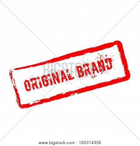 Original Brand Red Rubber Stamp Isolated On White Background. Grunge Rectangular Seal With Text, Ink