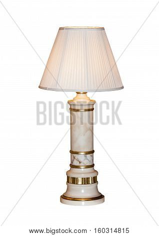 Modern table lamp isolated on white background. Bedside night lamp