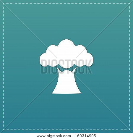 Baobab tree. White flat icon with black stroke on blue background