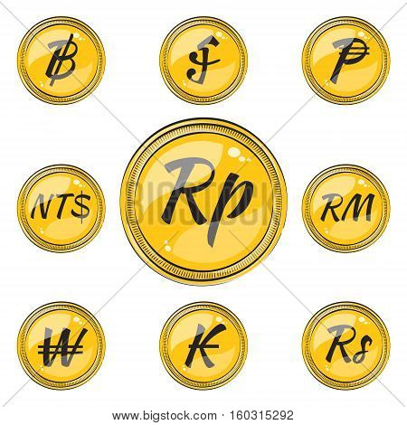 Set of Coins with Symbols of 9 Currencies. Flat Style Icons. Vector EPS 10