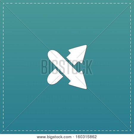 Two arrows. Direction sign. White flat icon with black stroke on blue background