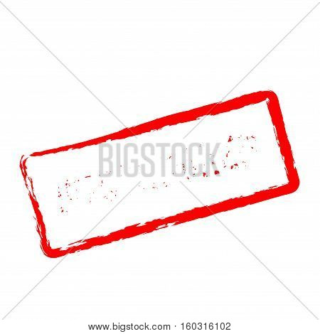 Uncensored Red Rubber Stamp Isolated On White Background. Grunge Rectangular Seal With Text, Ink Tex