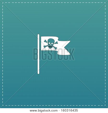 Jolly Roger or Skull and Cross bones Pirate flag. White flat icon with black stroke on blue background