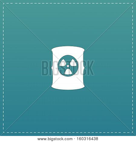 Container with radioactive waste. White flat icon with black stroke on blue background