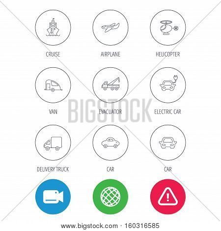 Transportation icons. Car, ship and truck linear signs. Airplane, helicopter and evacuator flat line icons. Video cam, hazard attention and internet globe icons. Vector