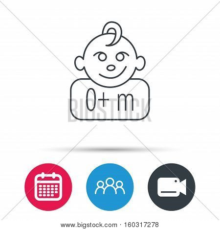 Baby face icon. Newborn child sign. Use of one months and plus symbol. Group of people, video cam and calendar icons. Vector