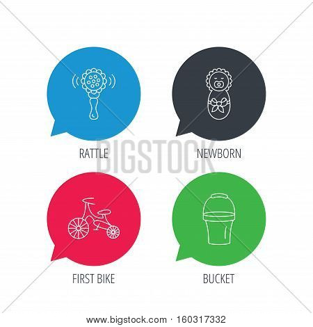 Colored speech bubbles. Newborn, rattle and first bike icons. Newborn child, bucket linear signs. Flat web buttons with linear icons. Vector