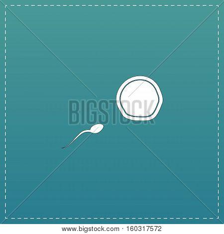 Egg and spermatozoon. White flat icon with black stroke on blue background