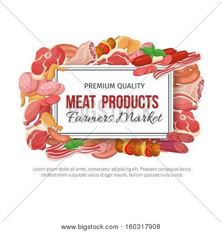 Gastronomic meat products banner menu design. Vector icons steak , barbecue, lamb, chops, bacon, chorizo, sausage, chicken wings, chicken legs ham salami and slices sausage
