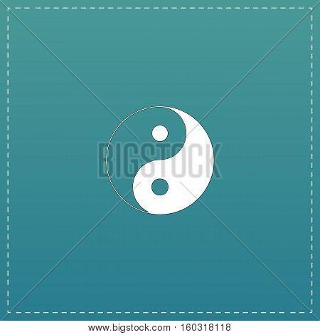 Ying yang symbol of harmony and balance. White flat icon with black stroke on blue background