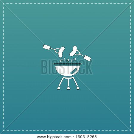 Grill Or Barbecue. White flat icon with black stroke on blue background