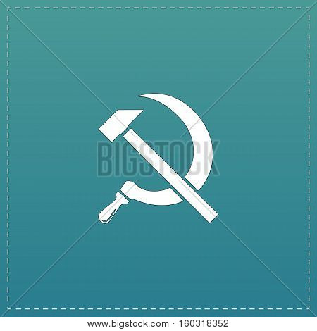 Hammer and sickle. White flat icon with black stroke on blue background