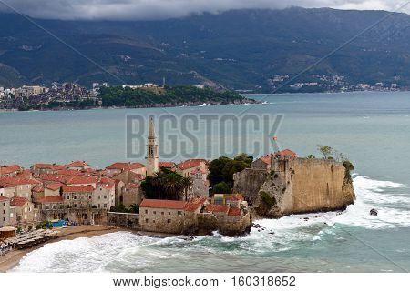 Budva old  town castle, storm day, Montenegro, Europe