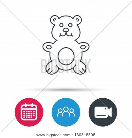 Teddy-bear icon. Baby toy sign. Plush animal symbol. Group of people, video cam and calendar icons. Vector