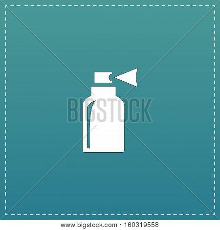 Spray. White flat icon with black stroke on blue background