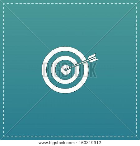 A dart is in the center of a dartboard. Target concept. White flat icon with black stroke on blue background