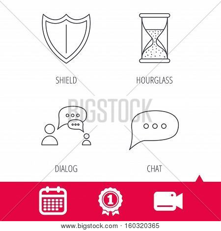 Achievement and video cam signs. Dialog, chat speech bubbles and shield icons. Protection, hourglass linear signs. Calendar icon. Vector