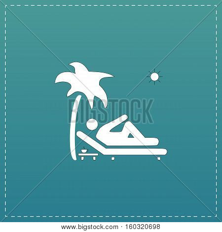 Man relaxing on a deck chair under palm tree and standing table with a cup of coffee. White flat icon with black stroke on blue background