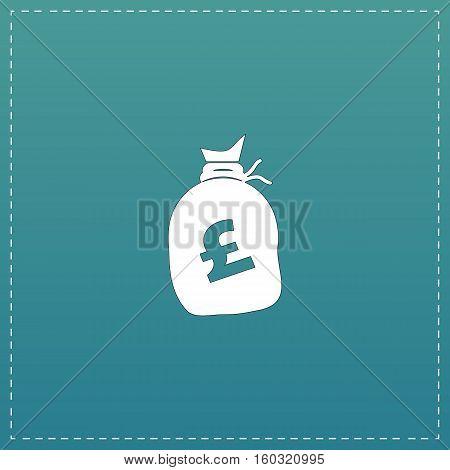 Money bag - Pound GBP. White flat icon with black stroke on blue background